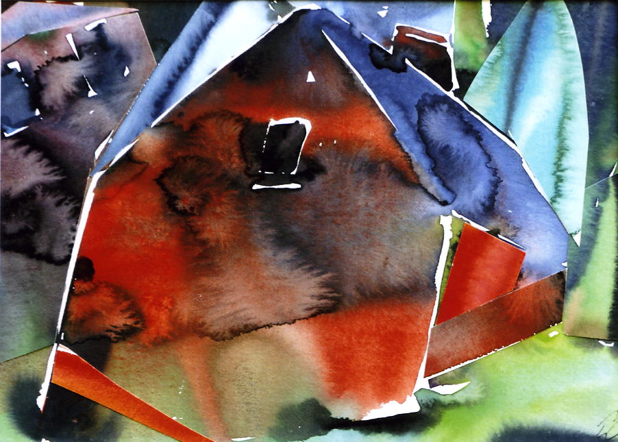 Schmiede in Brammer, 1987, Aquarell/Collage, 25 x 34 cm